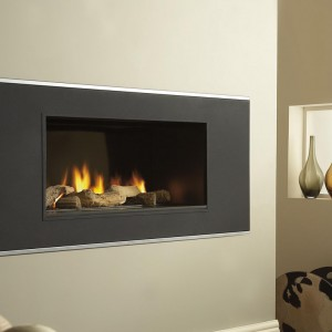 Verine Vertex Gas Fire with Strata trim
